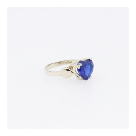 10k Yellow Gold Syntetic blue gemstone ring ajr16 Size: 1.5 4