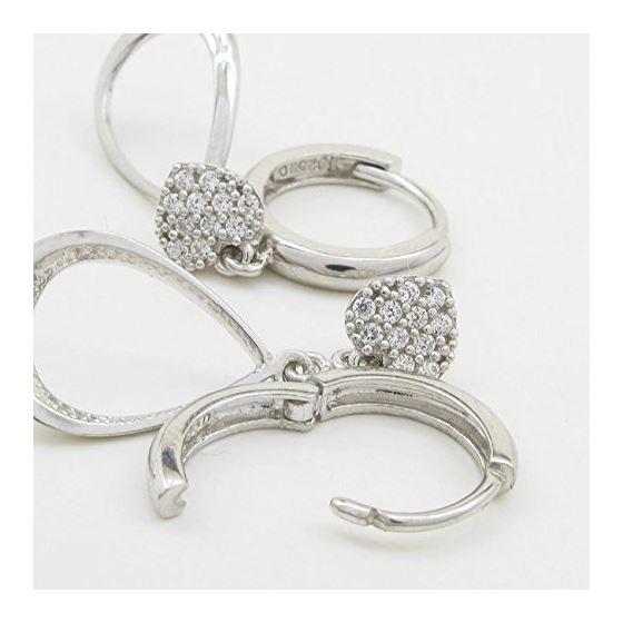 Womens Heart and teardrop chandelier earring Silver5 4