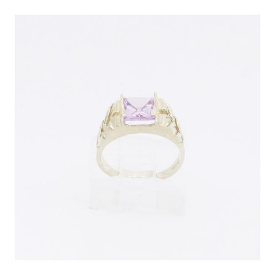 10k Yellow Gold Syntetic pink gemstone ring ajjr52 Size: 2.25 2