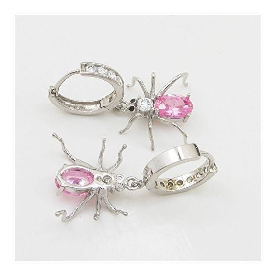 Womens Rose precious stone spider chandelier earring Silver10 4