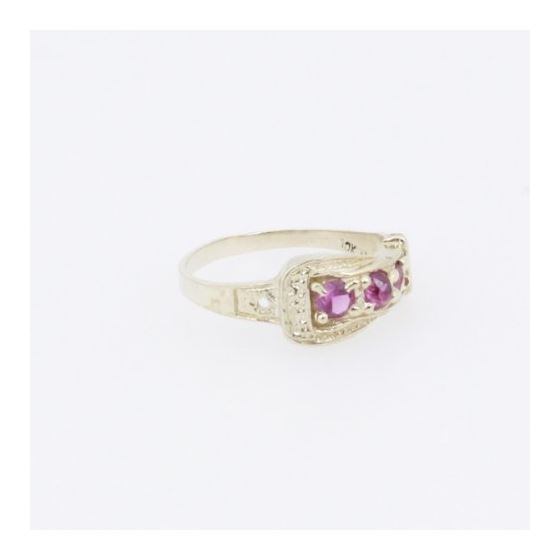 10k Yellow Gold Syntetic red gemstone ring ajjr35 Size: 3.75 4