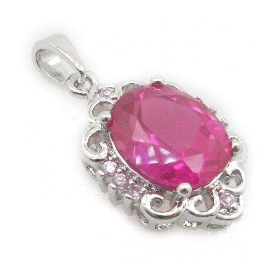 Ladies .925 Italian Sterling Silver chandelier pendant with pink stone Length - 27mm Width - 14mm 2