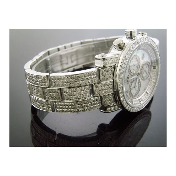 6.75Ct Diamonds Bazel Band Watch White M-O-P Fac-2
