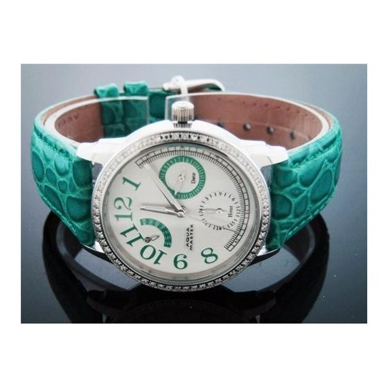 Aqua Master Lady Round Style 0.50ct Diamonds White Face Geen Band 2