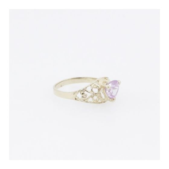 10k Yellow Gold Syntetic pink gemstone ring ajjr75 Size: 2.25 4