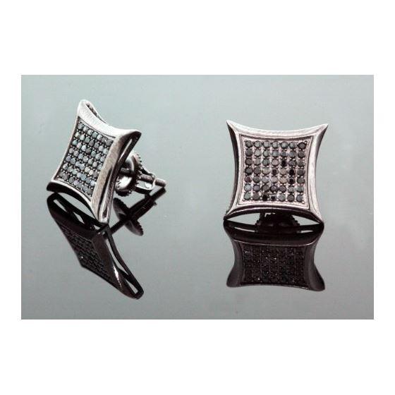 .925 Sterling Silver Black Kite Black Onyx Crystal Micro Pave Unisex Mens Stud Earrings 12mm