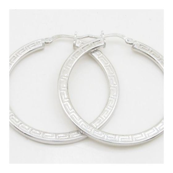 Round greek key hoop earring SB88 28mm tall and 28mm wide 2