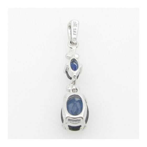 Ladies 10K Solid White Gold tear drop blue stone pendant Length - 1.10 inches Width - 6mm 4
