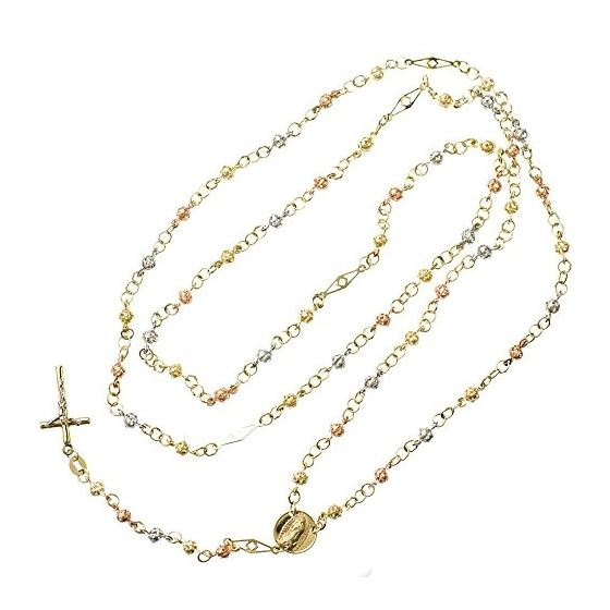 10K 3 TONE Gold HOLLOW ROSARY Chain - 30 Inches Long 3.51MM Wide 2