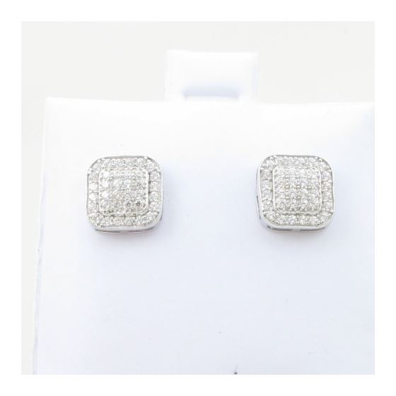 Mens .925 sterling silver White 6 row rounded square earring MLCZ160 3mm thick and 8mm wide Size 2