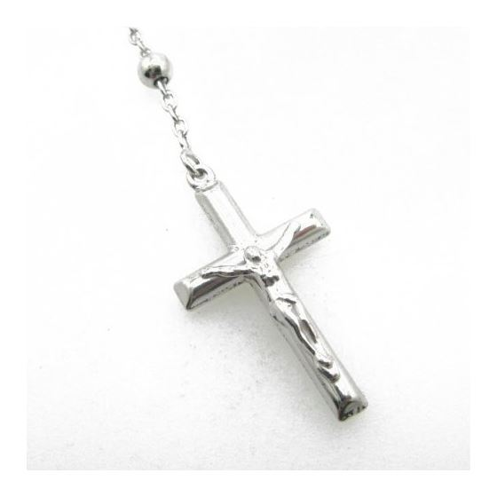Mens .925 Italian Sterling Silver white beaded rosary Length - 24 inches Width - 5mm 4