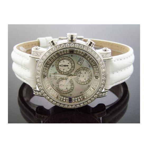 6.75Ct Diamonds Bazel Band Watch White M-O-P Fac-4