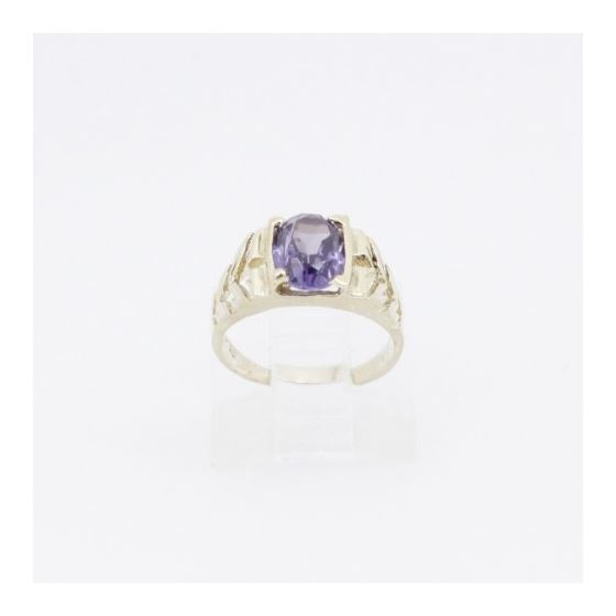 10k Yellow Gold Syntetic purple gemstone ring ajr21 Size: 2.25 2