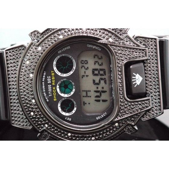Ice Plus Mens Diamond Shock Style Watch Black Case Black Band 2