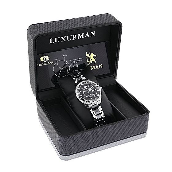 Luxurman Galaxy Midsize Real Diamond Watch Black Ceramic 1.25ct Leather Band 4