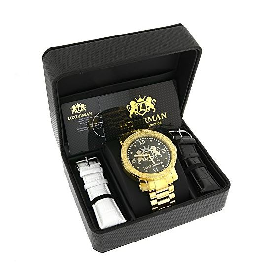 Phantom Mens Large Real Diamond Watch Yellow Gold Plated 0.12ct by Luxurman 4