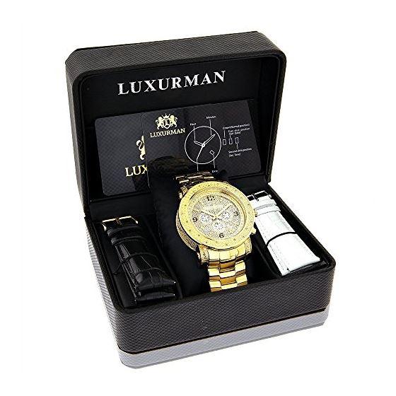 Luxurman Watch Mens Oversized Real Diamond Watch 0.75ct Yellow Gold Chronograph 4