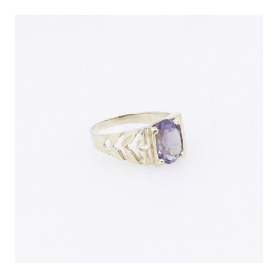 10k Yellow Gold Syntetic purple gemstone ring ajr21 Size: 2.25 4