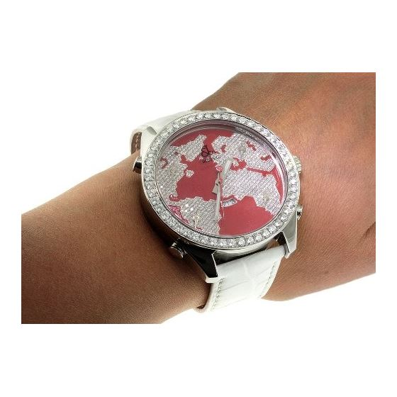Jacob Co. White Band 5 Time Zone Red World Map 5-4