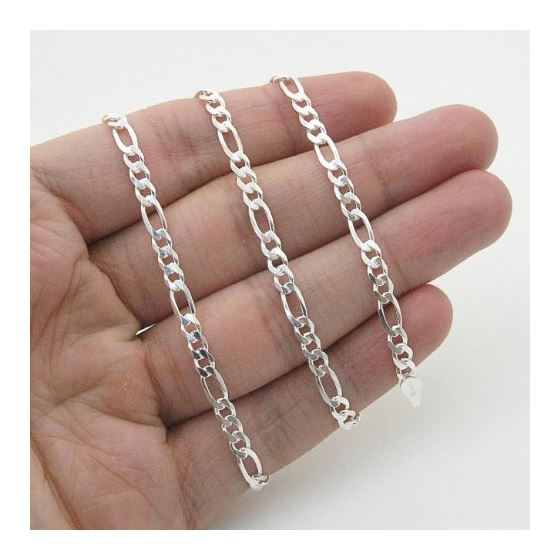 Silver Figaro link chain Necklace BDC69 79612 4