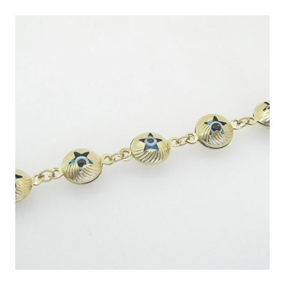 Ladies 10K Solid Yellow Gold evil eye star bracelet Length - 7 inches Width - 10mm 4