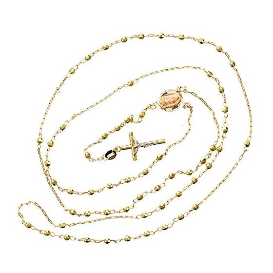 14K YELLOW Gold HOLLOW ROSARY Chain - 28 Inches Long 2.82MM Wide 2