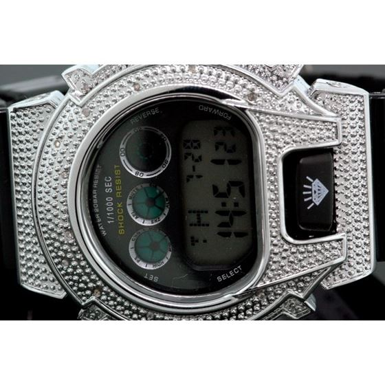 Ice Plus Mens Diamond Shock Style Watch White Case Black Band 2