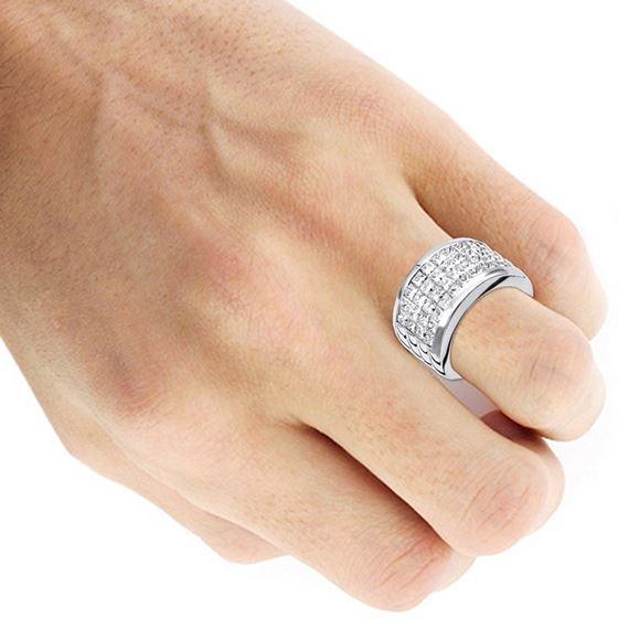 Platinum Ring Invisible Set Princess Cut Diamond-4