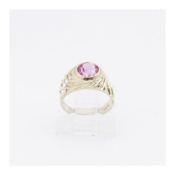 10k Yellow Gold Syntetic red gemstone ring ajjr83 Size: 2 2
