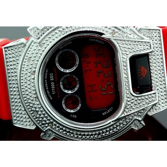 Ice Plus Mens Diamond Shock Style Watch White Case Red Band 2