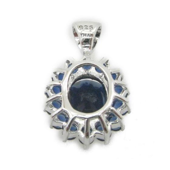 Ladies .925 Italian Sterling Silver fancy pendant with dark blue stone Length - 20mm Width - 13mm 4