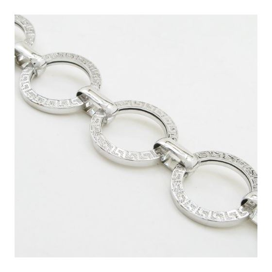 Sterling silver greek key round link bracelet SB104 7 inches long and 15mm wide 2