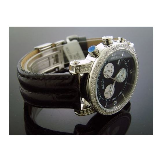 1.75Ct 37Mm Round Diamonds Watch Black Leather B-2
