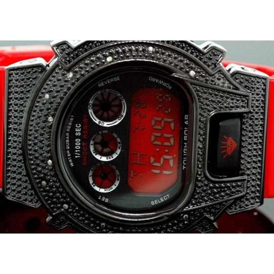 Ice Plus Mens Diamond Shock Style Watch Black Case Red Band 2