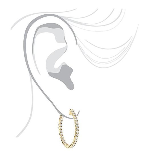 1 Inch Inside Out Natural 2 Ctw Diamond Hoop Ear-4