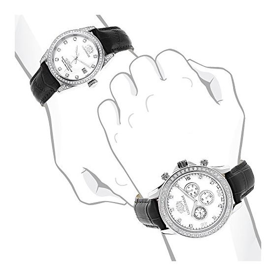 Matching His And Hers Swiss Mvt LUXURMAN Real Di-4