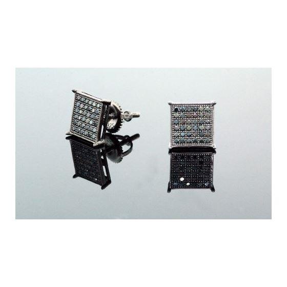 .925 Sterling Silver Black Square Black Onyx Crystal Micro Pave Unisex Mens Stud Earrings 10mm 2