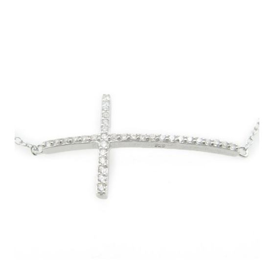 Ladies .925 Italian Sterling Silver white bracelet with long cross Length - 4 inches ( cross - 30mm