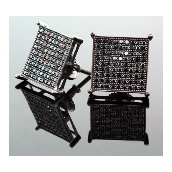 .925 Sterling Silver Black Square Black Onyx Crystal Micro Pave Unisex Mens Stud Earrings 14mm 2