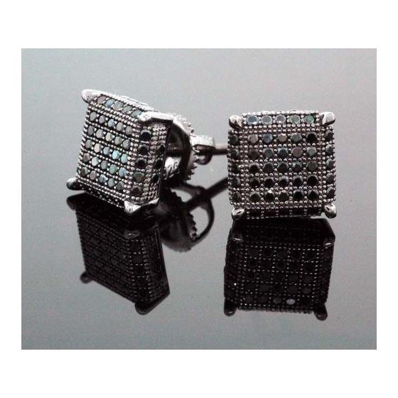 .925 Sterling Silver Black Square Black Onyx Crystal Micro Pave Unisex Mens Stud Earrings 8mm 2