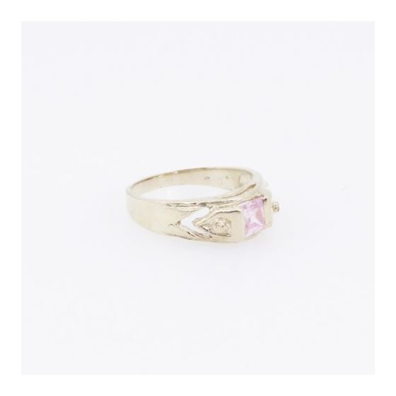 10k Yellow Gold Syntetic pink gemstone ring ajr23 Size: 3.25 4