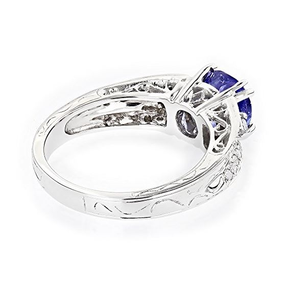 14K Natural Diamond Tanzanite Engagement Ring Fo-2