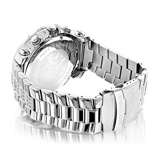 Oversized Escalade Iced Out Mens Diamond Watch by Luxurman White Gold Plated 2ct 2