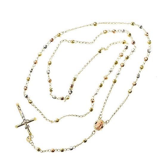 10K 3 TONE Gold HOLLOW ROSARY Chain - 28 Inches Long 4.02MM Wide 2