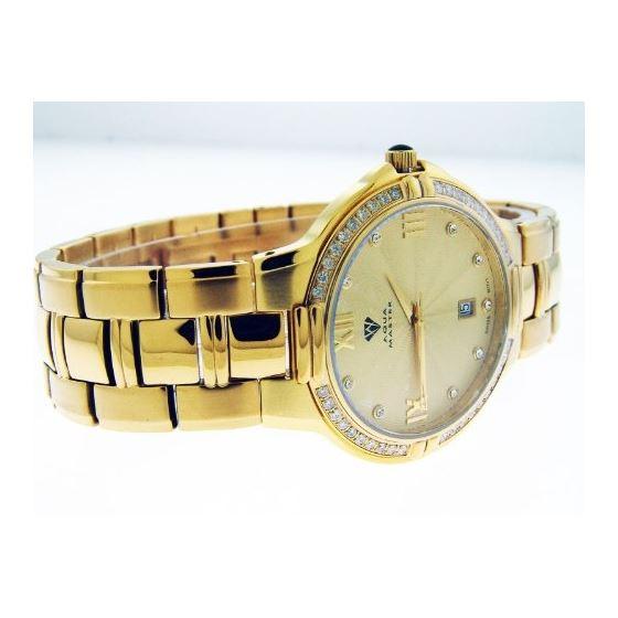 Mens Swiss 40Mm 1.00Ct 40 PCS Diamonds Watch Yel-2