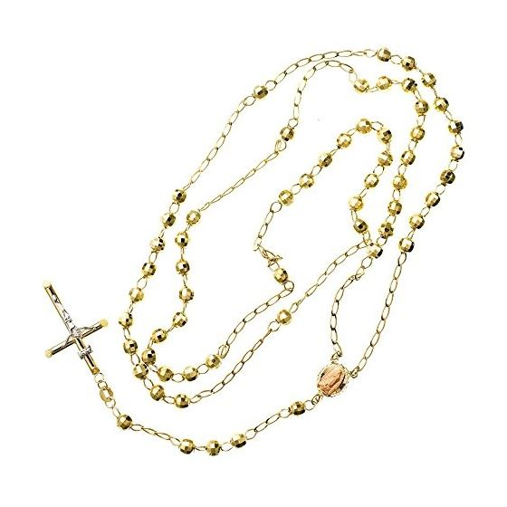 10K YELLOW Gold HOLLOW ROSARY Chain - 30 Inches Long 4.9MM Wide 2