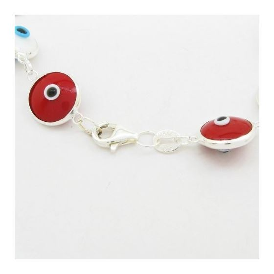 Womens Sterling silver White and red evil eye bracelet 2