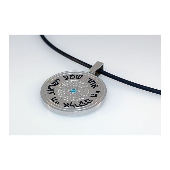 Stainless Steel Circle Pendant Written in Herbew with Blue Stone 2