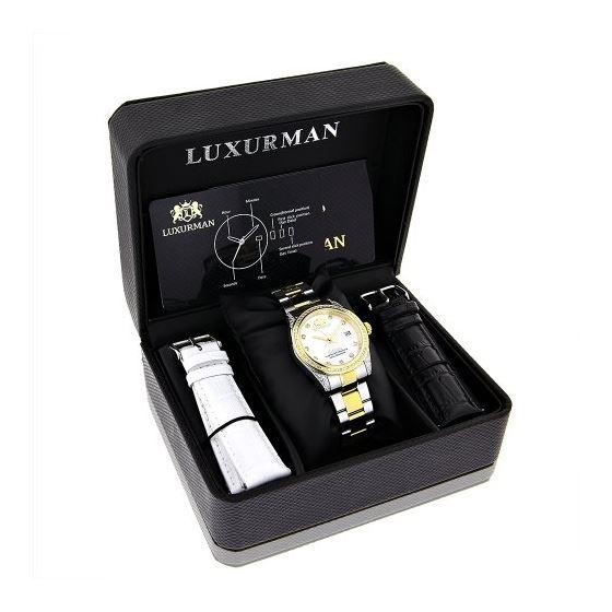 Ladies Luxurman Tribeca Two Tone Genuine Gold Plated Real Diamond Watch 1.5ct 4