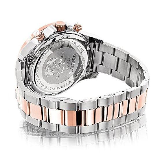 Luxurman Mens Real Diamond Watch Two-Ton 90401 2